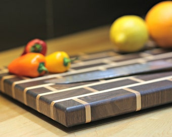 "Hardwood (Walnut/Maple) ""Brick & Mortar"" Cutting Board"