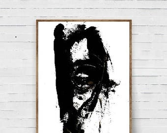 rt mural abstrait, peinture course art print, moderne, art mural minimal, art noir et blanc, nordique, scandinave art, moderne