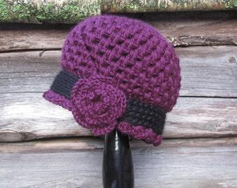 Womens Crochet Hat, Purple Crochet Cloche Hat with Flower