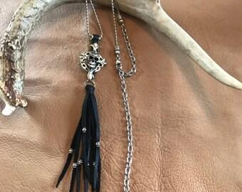 Leather Fringe Skull Necklace