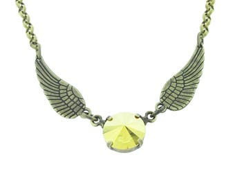 Harry Potter Golden Snitch Quidditch Inspired Swarovski Crystal Necklace
