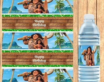 Moana Inspired Water Bottle Label, Moana Inspired  Favors, DIGITAL FILE ONLY