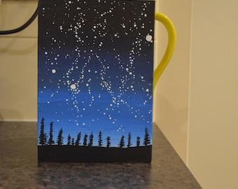 Night Sky Trees Painting