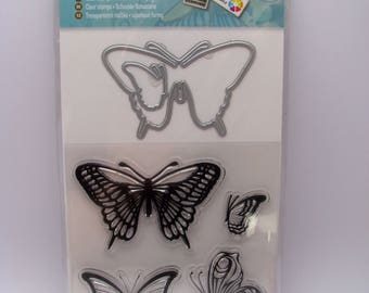 Clear stamps and cutting die - butterflies - die cut