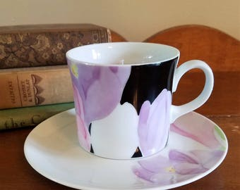 Beautiful Coffee Cup Candle with Saucer, Lavender Candle, Soy Candle, Birthday Gift, Anniversary Gift