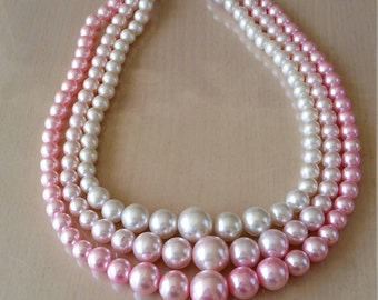 Vintage 1960s three strand pink faux pearl necklace