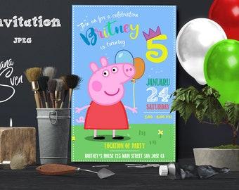 Peppa Pig  Invitation, Peppa Pig Birthday Invitation , Peppa Pig Invites, Peppa Pig Party Invitation, Personalized Peppa Pig Invite