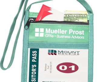 """100 Pcs Personalized Printed NECK Wallets with Front Zipper Pocket Top Quality w/ 1 color LOGO/TEXT Custom wallet w/ Printed 3/8"""" Lanyard"""