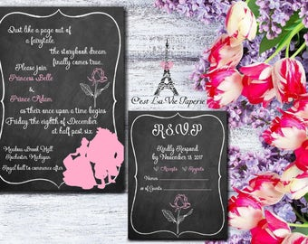 Beauty and the Beast Chalkboard Invitation Suite