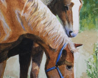 Original Watercolor Painting, Equine Art, Horses, Farmyard Pets, Horse Portrait, Art, Belgians