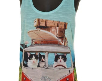 VW Kombi Cats printed Graphic Singlet Tank top