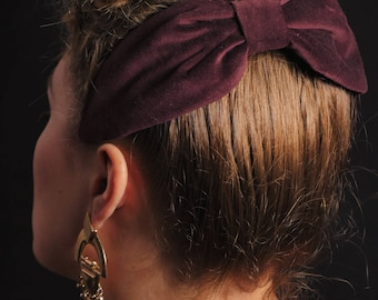 Bordeaux VELVET HAT - touched / Headdress