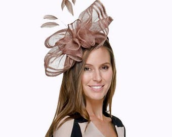 Ava Taupe/Mushroom Fascinator, Millinery, Kentucky Derby Hat, Melbourne Cup Hat, Ascot Hat, British Wedding Hat,Women's Hat, Light Brown Hat