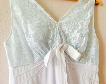 Vintage 1960s Vanity Fair nightgown, pale blue, size 38 bust