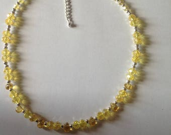 Yellow necklace crystal necklace handmade necklace beaded necklace