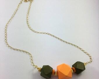 "Fashion Orange Olive Chain Necklace Bead Pendant 26"""