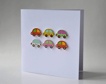 Car wooden button greeting card with envelope 5x5