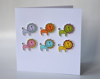Lion wooden button greeting card with envelope 5x5