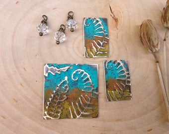 Embossed jewelry components- collection #2 ferns & clear bead dangles