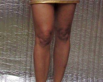 Glittering Gold Short Pencil Tight Little Micro Mini Skirt Stretchable Ultra Short Mini Skirt