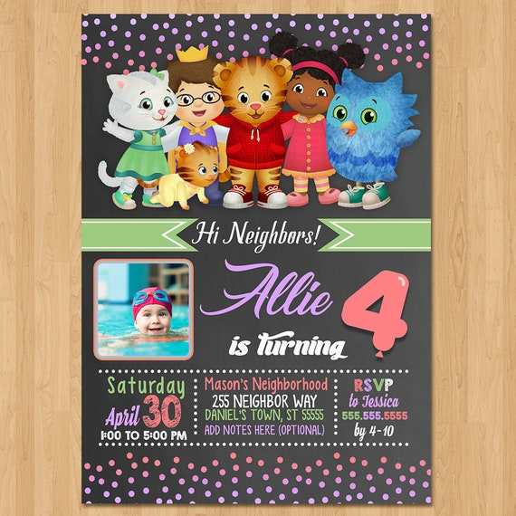 Daniel Tiger Invite - Chalkboard Pink Purple - Daniel Tiger Girl Birthday Party Invite - Daniel Tiger Party Favors - Photo Invite - Print