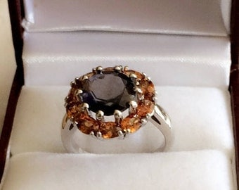 Rhodium Plated Sterling Silver Ring with Iolite and Yellow Topaz Genuine Stones