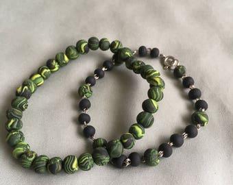 Black/Yellow Stretch and Wire Linked Bracelet Set