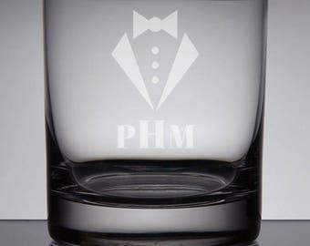 Groomsmen Gift, Wedding Whiskey, Etched Glass, Wedding Gift, Rocks Glasses, Custom Wedding Gift, Engraved, Monogram, Tuxedo, Sandblasted