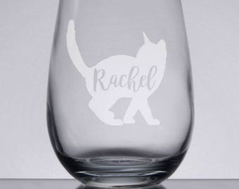 Etched Wine Glass, Cat Lover Gift, Cat Wine Glass, Personalized Wine Glass, Custom Gift, Cat Gift, Custom Wine Glasses, Bridesmaid Gift Idea