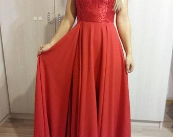 Long Prom/wedding/reception/bridesmaid Red Dress