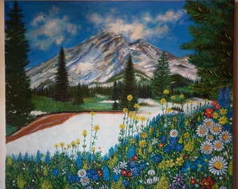 Oil paint mountain and flowers