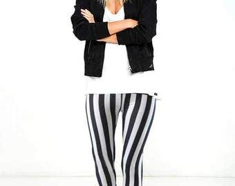 Leggings Printed - Vertical Black And White Striped Leggings - Sizes:Small, Medium, Large