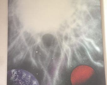 "Galaxy on canvas - two planets and solar flares - ""Exordium"""