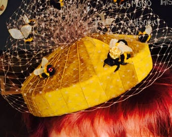 Queen bee and workers small pillbox hat.
