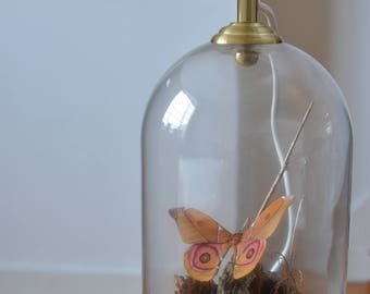 Natural Causes Ethical Moth Glass Cloche Dome Lamp with Vintage Style Bulb