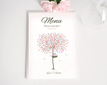 Romantic wedding menu with tree of love. May be completed with invitations and mass booklets. Customizable menu.
