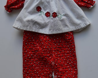 "Vintage 1950's childrens red and white outfit from ""Wunderalls"" size 9-12 months"