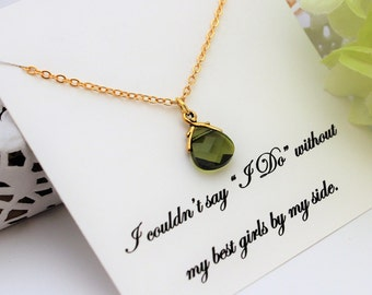 BRIDESMAID Proposal CRYSTAL NECKLACE Will you be My Bridesmaid Gift Olivine Crystal Necklace Green Necklace Mother of Groom Bride Gift