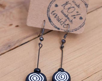 Black and White Spiral Polymer Clay Earrings