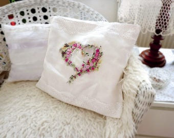Embroidered pillow, Hand embroidered pillow, Ribbon embroidery cushion, Silk ribbon embroidery pillow, Painted pillow with, Mothers Day Gift