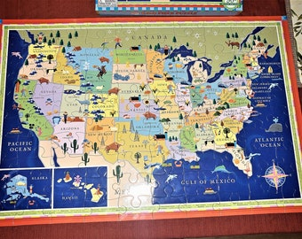 100 pc Educational USA Map Puzzle -Framing Optional-Great for teachers!