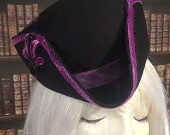 Hat tricorne Mini Victorian, baroque, Gothic, unique creation!