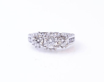 14K White Gold Diamond Engagement Vintage Ring