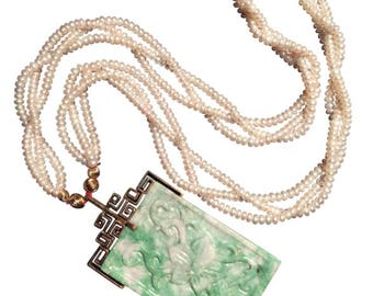 sale : Large 14k yellow gold genuine jadeite jade pendant with pearl necklace