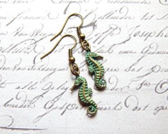 Seahorse Earrings - Verdigris Patina Brass Ox Seahorse Earrings - Beach Jewelry - Charm Earrings
