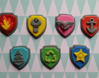 Paw Patrol Fondant Cupcakes Toppers. (12 Shield Badges)