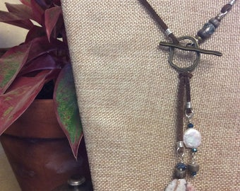 Leather Toggle Necklace with Natural Amethyst, Coin Pearl, Wood, and Crystal Accents