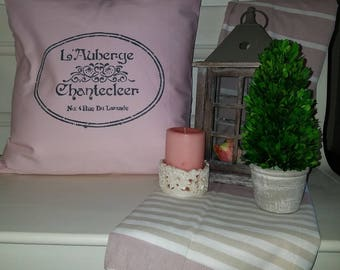 Handmade Pink Parisian Themed Pillow Cover