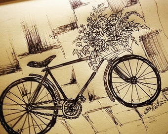 Bicycle with flower basket Print