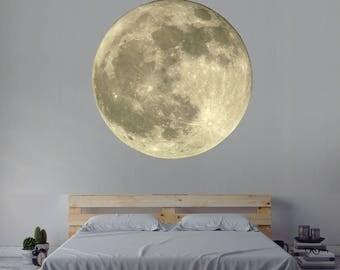 Moon Wall Decal - Space Wall Decal - Moon Wall Art Mural - Space Theme Decor - Moon Vinyl Wall Decal Decor